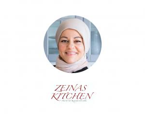 Profilbild på leende Zeina Mourtada och texten Zeina Kitchen mat och bak-recept från hela världen