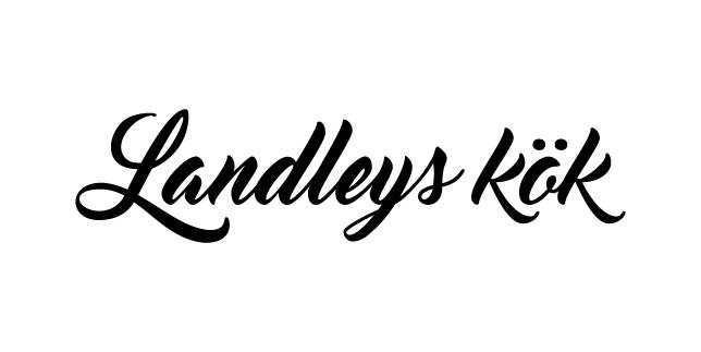 Logga för Landleys Kök i svart och vitt med texten Landleys Kök