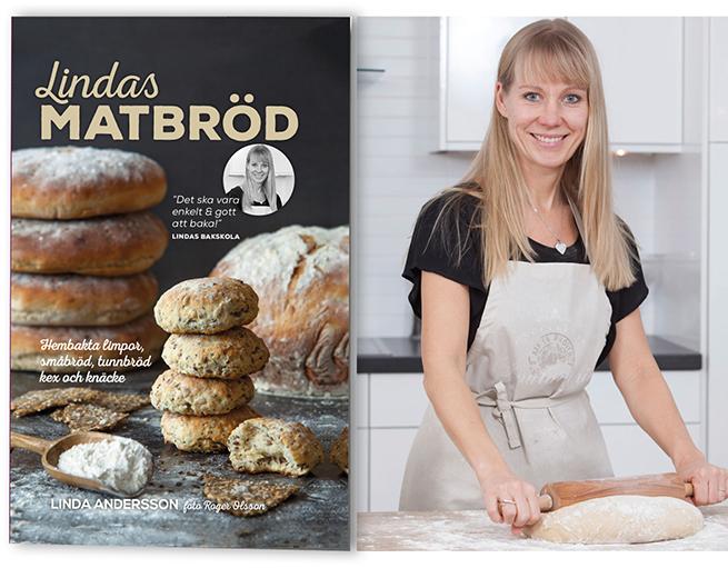 Boken Lindas Matbröd och en leende Linda Andersson från Lindas Bakskola och Matskola som står i köket och kavlar en deg på ett mjöligt bord