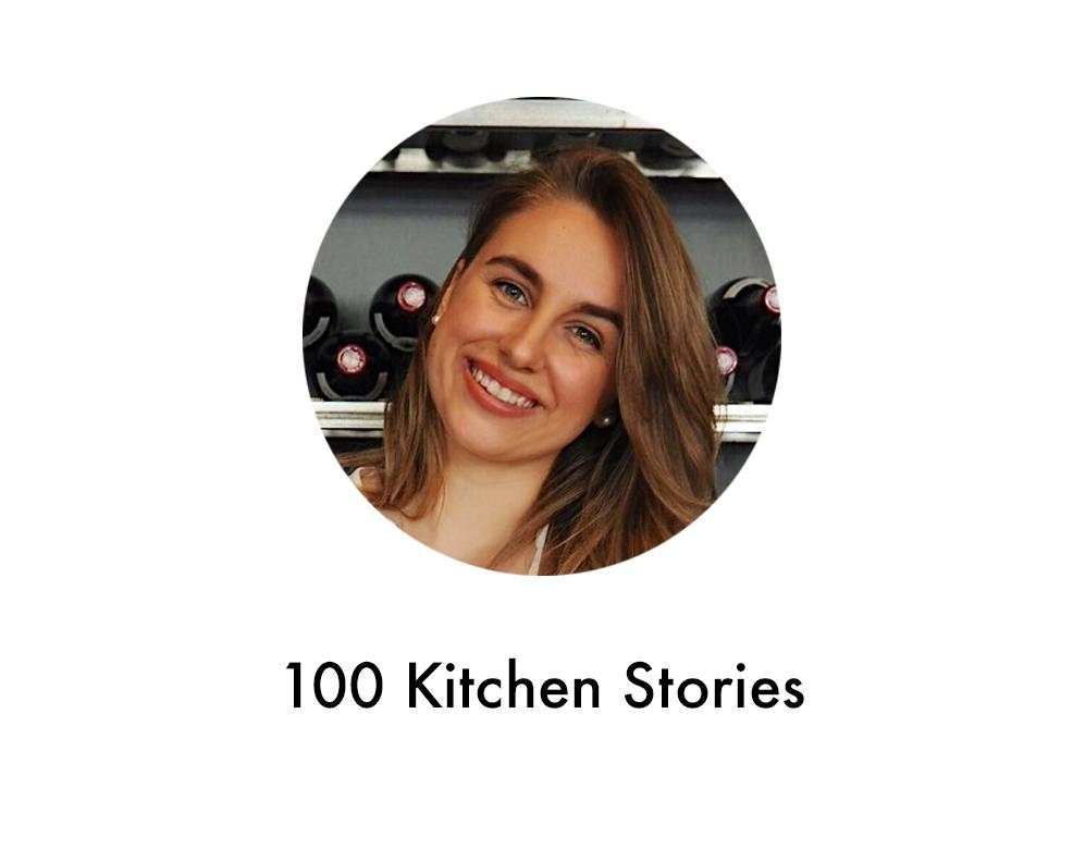 Profilbild med text på Paulina Suonvieri, som driver Instagramkontot 100 Kitchen Stories