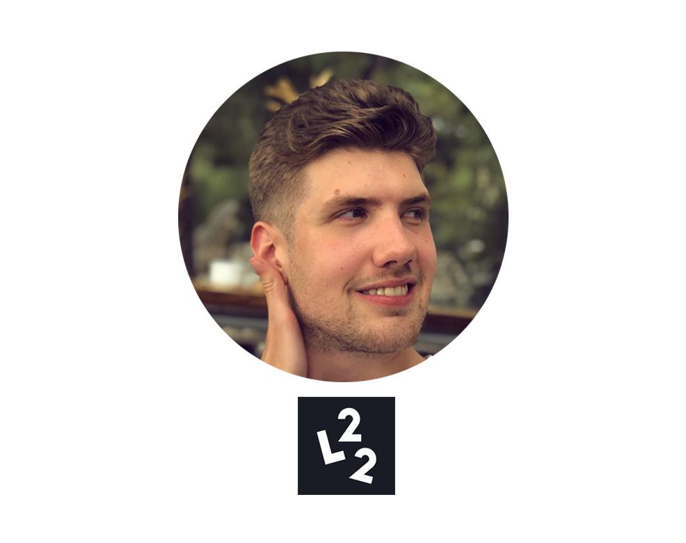 """Profilbild på Maurice """"L22"""" Hill med logga"""