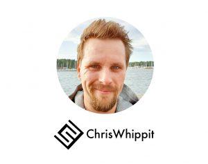 Profilbild på ChrisWhippit plus logga och text