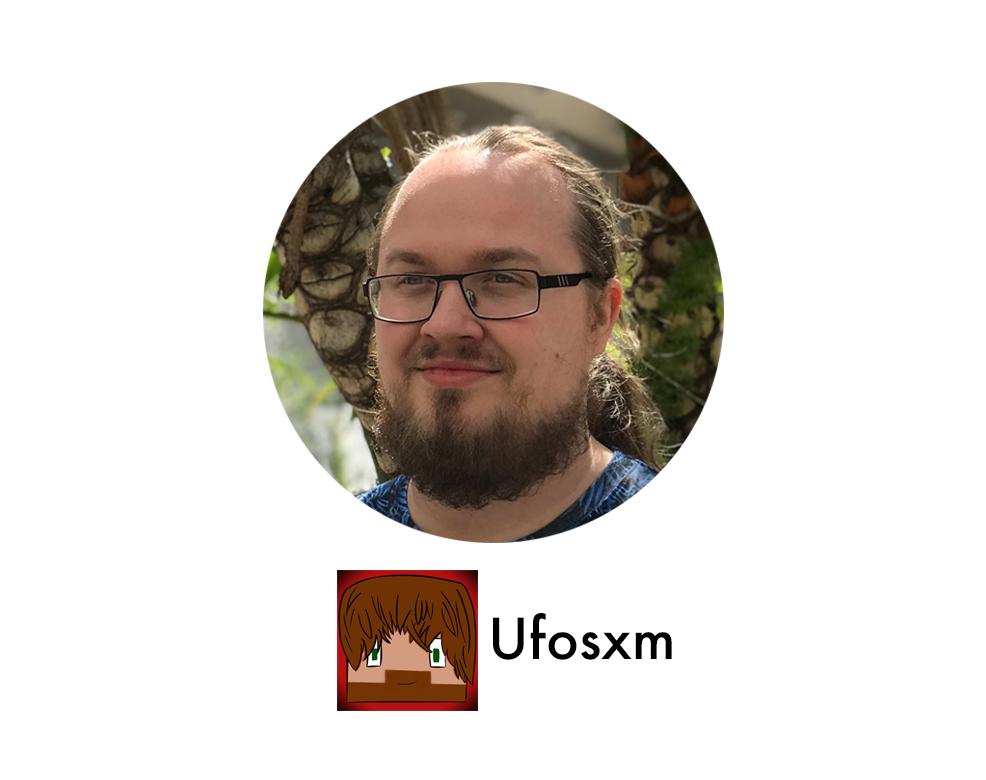 """Profilbild på David """"Ufosxm"""" med logga"""